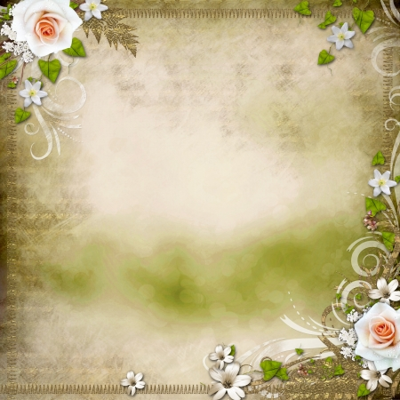 photoalbum: Vintage background with  roses