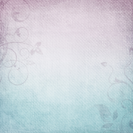 A paper background in  purple and blue with floral elements Stock Photo