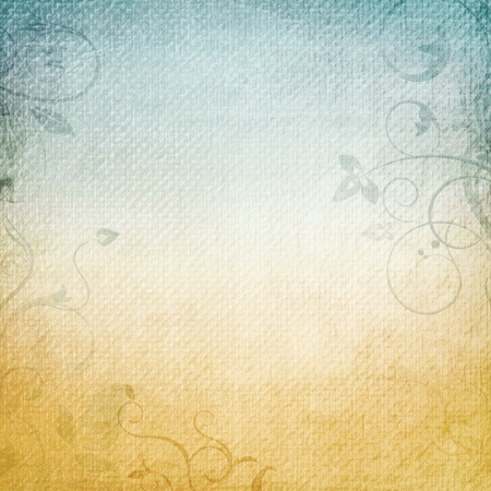 distressed texture: A paper background in beige and blue with floral elements