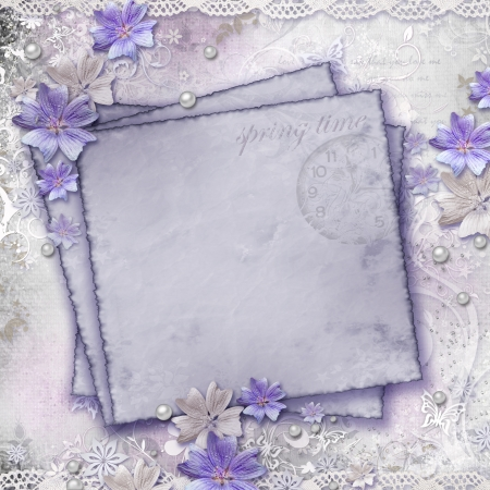 lavender flower: Spring background with flowers, paper card  Stock Photo