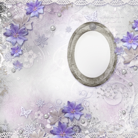 Spring background with flowers, oval frame  photo