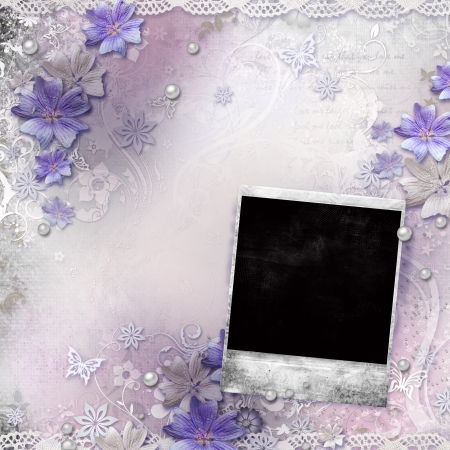 Spring background with flowers, frame  photo