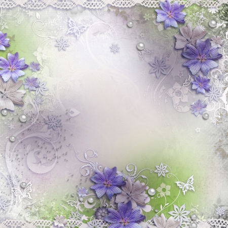 grunge floral: Spring background with flowers