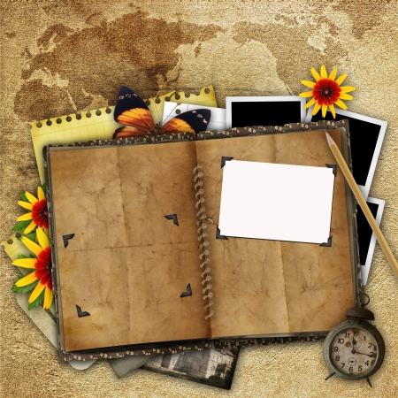 antique background with the old map, open book and a clock  photo