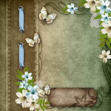 Vintage Hintergrund mit Spitzen und Blumen Zusammensetzung Standard-Bild - 14119550