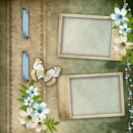 scrap booking: Two frames on vintage background