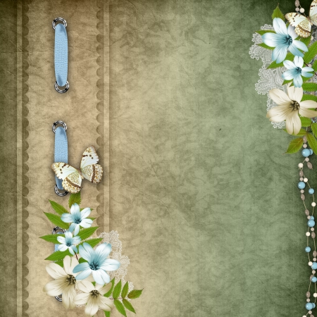old album: Vintage background with lace and flower composition