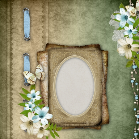 album cover: Vintage background with lace and flower composition