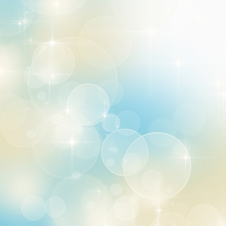 Abstract blue and beige bokeh background with copy space  Stockfoto