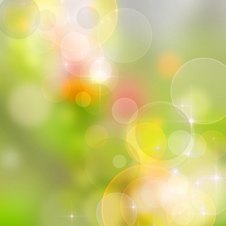 defocus: A bright spring background with green and pink bokeh effects
