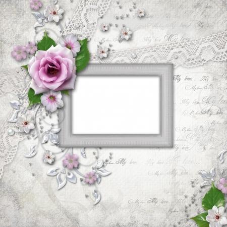 bodas de plata: Elegancia marco de plata para la foto Foto de archivo