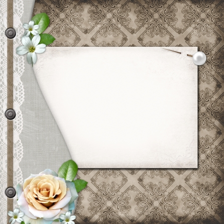 Brown cover for an album with lace, rose Stock Photo