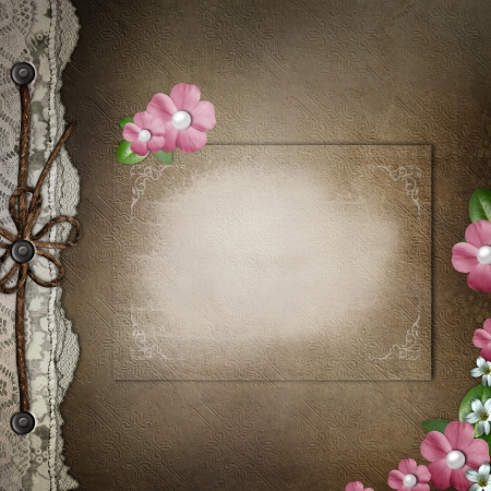 wedding photo album: Brown cover for an album with lace, pink flowers