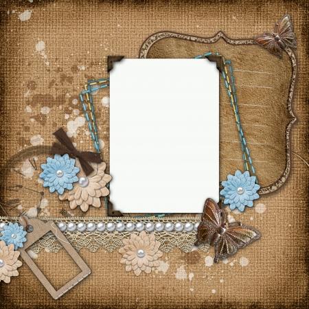 Framework for invitation or congratulation on vintage background photo