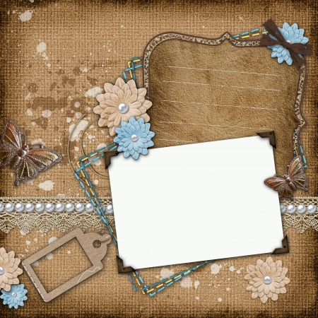 Framework for invitation or congratulation on vintage background photo