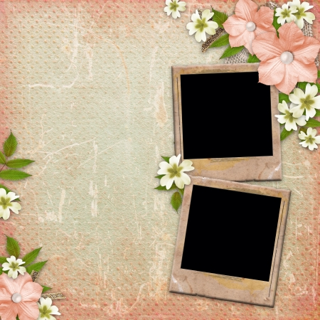 wedding photo album: Vintage background with frames, lace and flower composition  Stock Photo