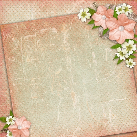 Vintage background with lace and flower composition  photo