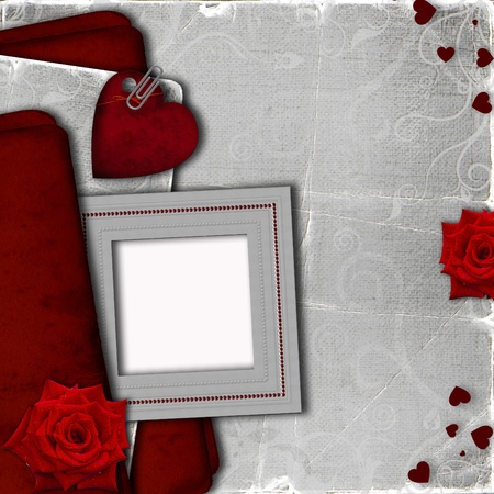Card for invitation with heart and roses photo