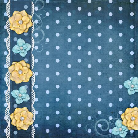 patterned: card with flowers  for congratulation to holiday