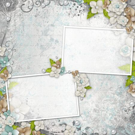 album background: Romantic  vintage  white background with flowers and text (1 of set)