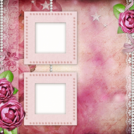 Frame with pink roses, lace, text and pearls