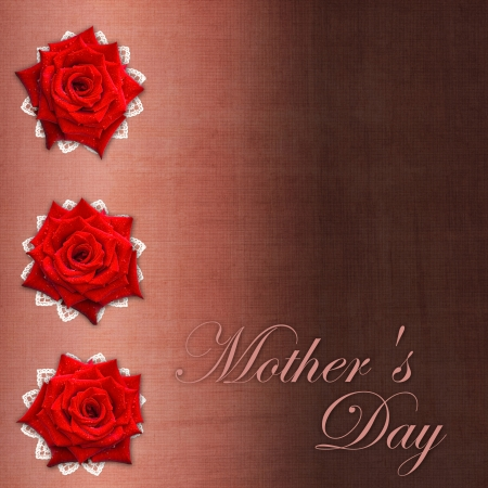 Card for congratulation or invitation for Mother`s day with red roses  photo