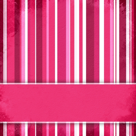 Purple, pink and white striped background with banner, variable width stripes  Stockfoto