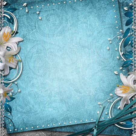 gray flower: Vintage Floral Background With Lilies