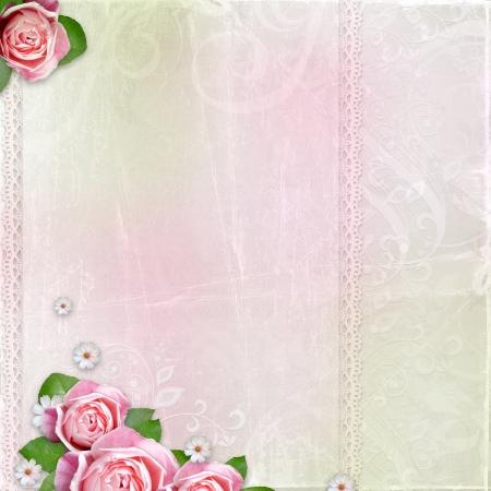 Beautiful wedding, holiday background with roses Stock Photo