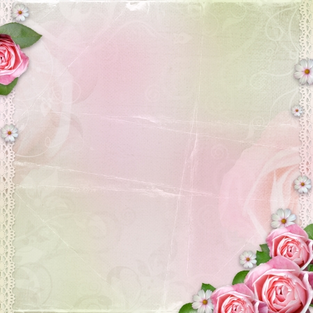 Beautiful wedding, holiday background with roses Stock Photo