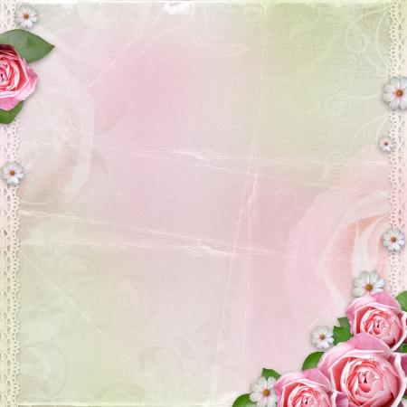 Schöne Hochzeit, Urlaub Hintergrund mit Rosen Standard-Bild - 14593716