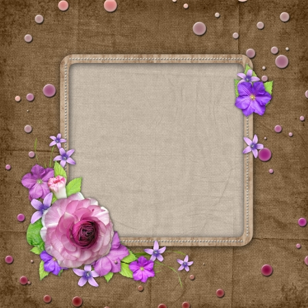 textured background with  flowers  photo