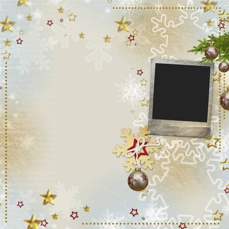 pics: old Christmas greeting card with bauble, frame, snowflakes, stars Stock Photo