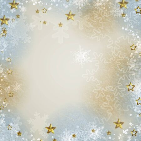 pics: Multicolored backdrop for greetings or invitations with  snowflakes and stars  Stock Photo