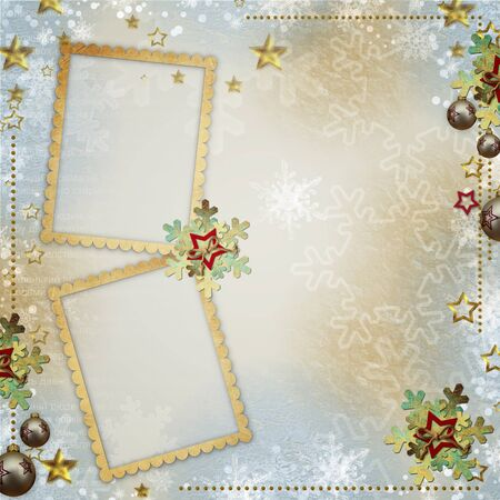 old Christmas greeting card with frames, snowflakes, stars photo