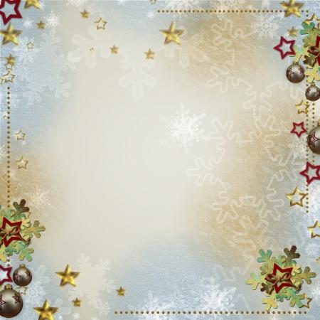 Bunte Kulisse für Grüße oder Einladungen mit Flitter, Schneeflocken und Sternen Standard-Bild - 14935239