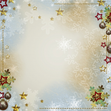 Multicolored backdrop for greetings or invitations with bauble, snowflakes and stars
