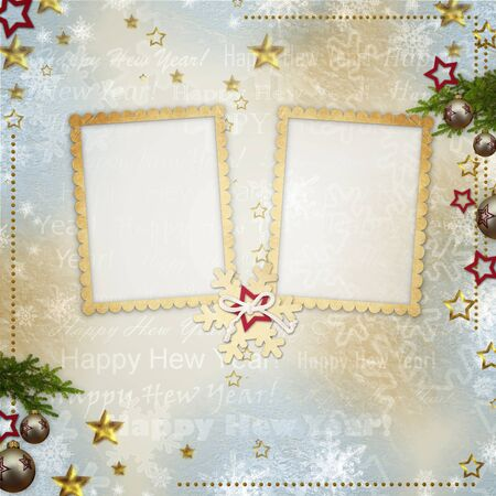 photoalbum: old Christmas greeting card with frames, snowflakes, stars