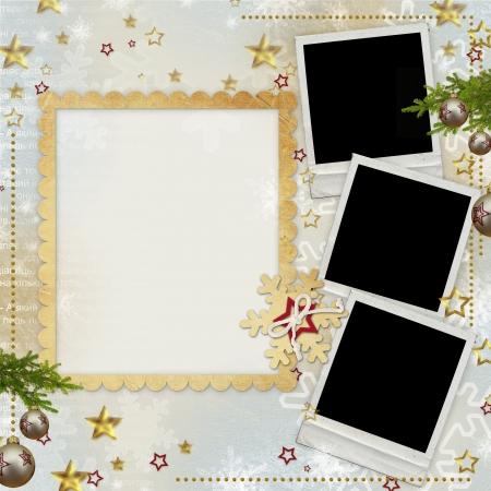 christmas photo frame: old Christmas greeting card