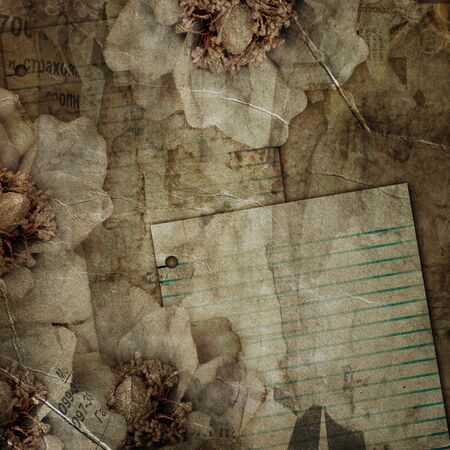 vintage newspaper: abstract background with printed text, flowers