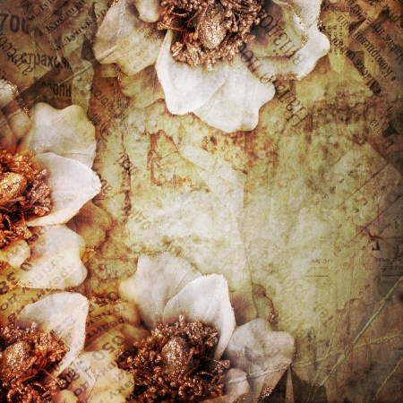 abstract background with printed text , flowers photo
