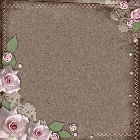 backstitch: vintage beautiful wedding background with roses