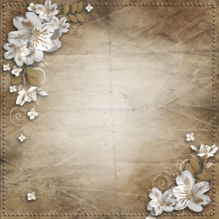 royal family: Vintage background with  flowers for congratulations and invitations