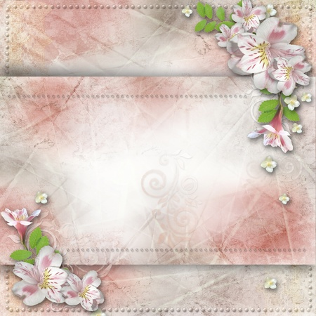 Vintage background with  flowers for congratulations and invitations  Stock Photo - 17207971