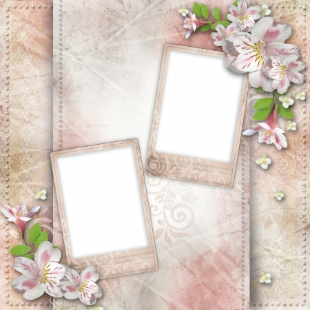 Vintage background with frame and flowers for congratulations and invitations  Stock Photo - 17207967