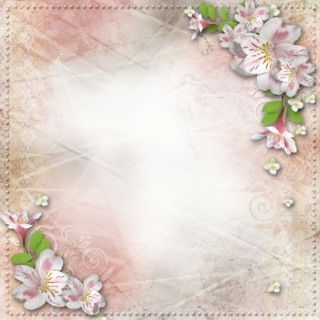 paper fastener: Vintage background with  flowers for congratulations and invitations