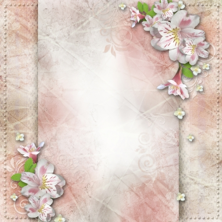 royal family: Vintage background with flowers for congratulations and invitations  Stock Photo