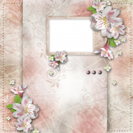 paper fastener: Vintage background with frame and flowers for congratulations and invitations