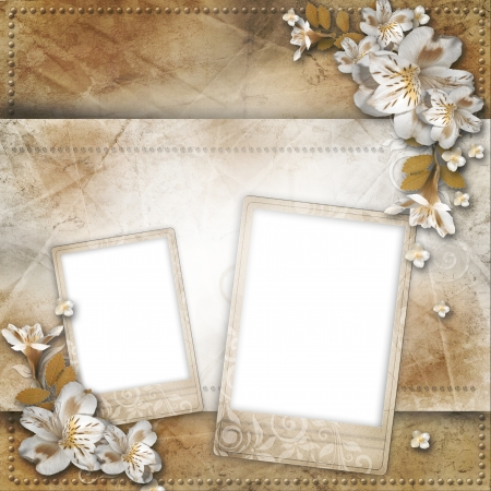 royal family: Vintage background with frame and flowers for congratulations and invitations