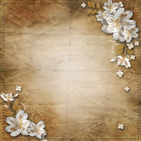 Vintage background with frame and flowers for congratulations and invitations  photo